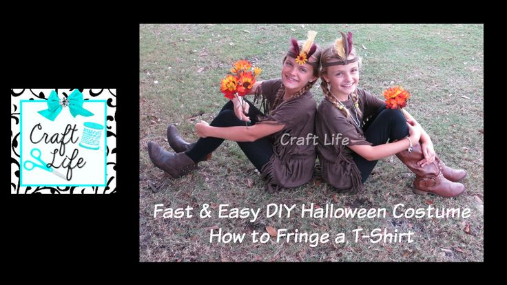 Fast & Easy DIY Halloween Costume ~ Native Princess ~ Pocahontas ~ How to Fringe a T-Shirt