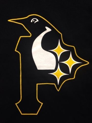 Pittsburgh 3 seasons morphed logo. Don't worry about buying a sweatshirt for all three teams when you can get all three in one awesome product!! Perfect for any Pittsburgh sports fan!