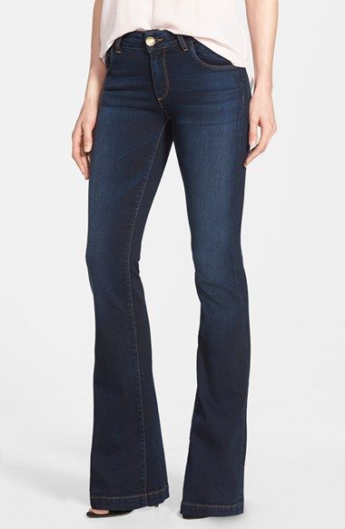 Dark, stretch denim in flare leg :)  KUT from the Kloth 'Chrissy' Stretch Flare Leg Jeans (Breezy) (Long) available at #Nordstrom