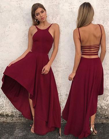 56cb238dc7 Stylish A line chiffon high low prom dress