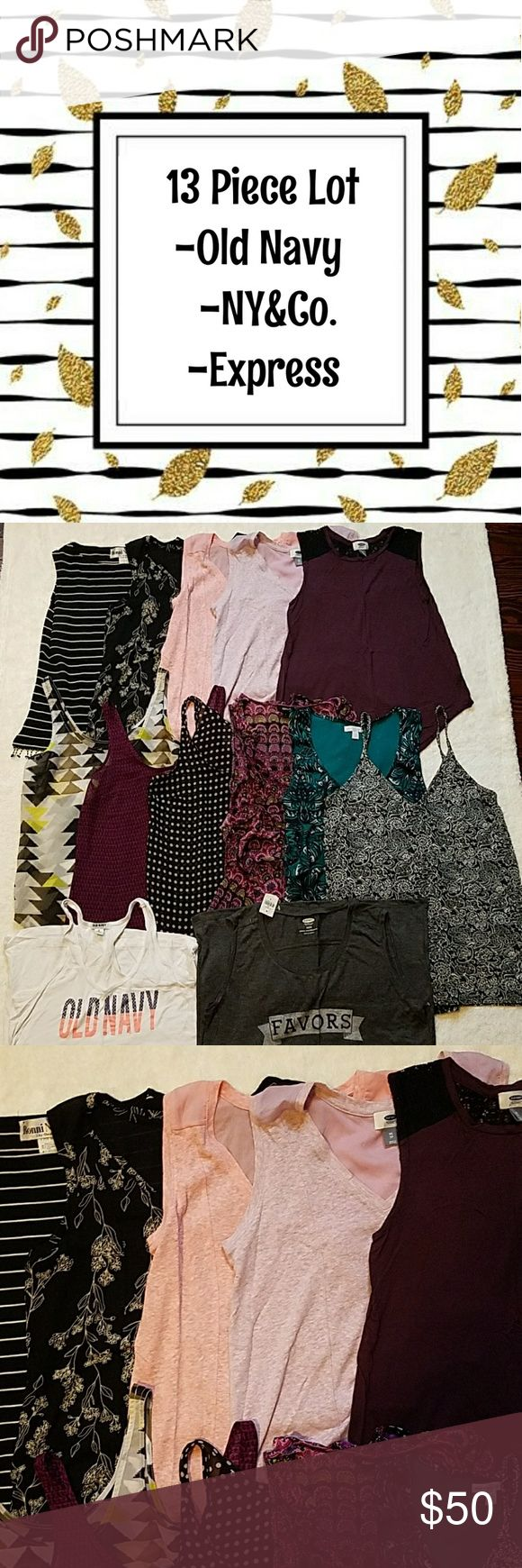 13 Piece Lot 1 Ronni Nicole Tank (S) -no signs of wear  3 Old Navy Sheer Back Tanks (XS) -no signs of wear  1 Old Navy Lace Panel Tank (XS) - minor pilling  2 Old Navy Sheer Shell Tanks (XS) -no signs of wear  1 Old Navy Sheer Shell Tank (S) -no signs of wear  1 Express Tiered Tank (S) -no signs of wear  1 New York and Company Tank (S) -no signs of wear  1 Old Navy Strappy V Neck Tank (XS) -no signs of wear  2 Old Navy Americana Tanks (XS) -white Has some pilling -grey is NWT   Measurements…