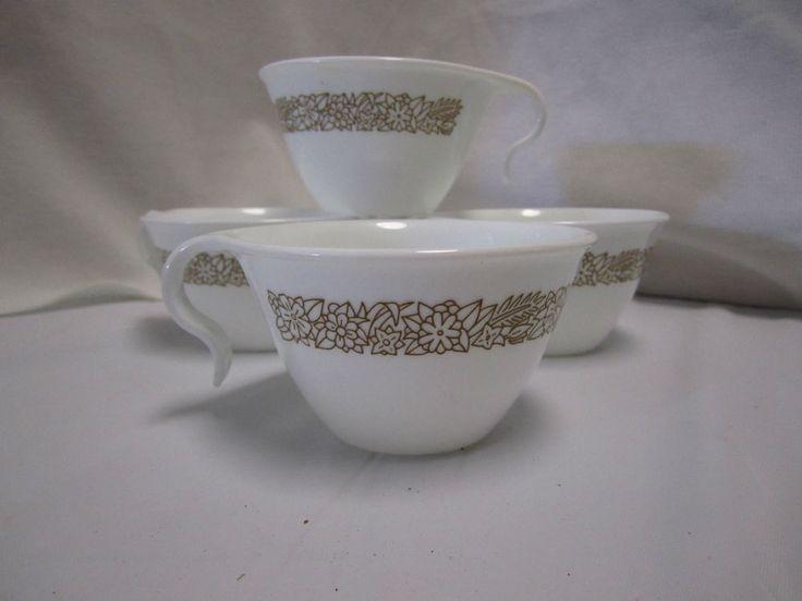 4 Vintage Corelle Coffe Cups C Hook Handle Woodland Brown Tea Mugs #Corelle