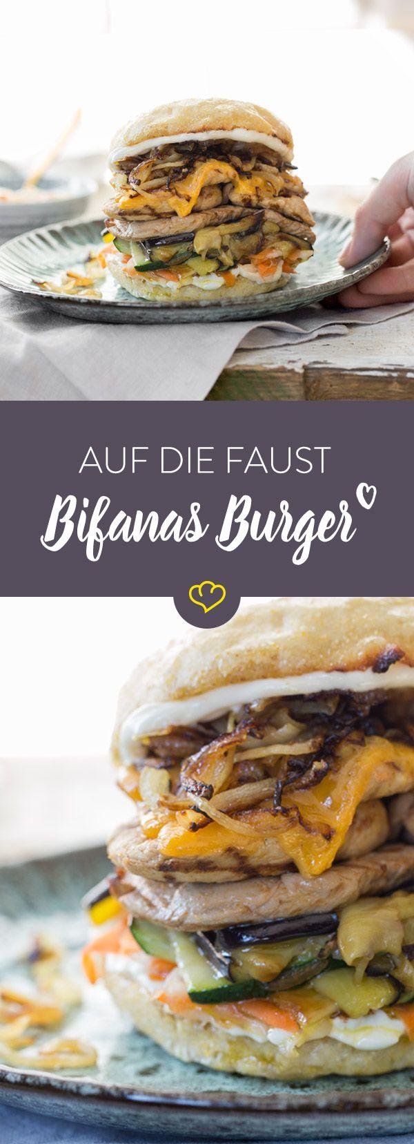 Wecke Urlaubsfeeling mit dem Bifanas Burger. Das portugiesische Fastfood vereint gegrilltes Schweinefilet mit Piri Piri Sauce, Grillgemüse und Röstzwiebeln.