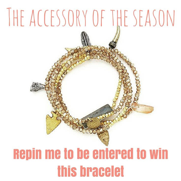 Repin this bracelet to be ENTER to win.  It's the BeesKnees and winner of the fall.  Wear it as a layer necklace or a wrap bracelet! REPIN NOW TO WIN!  B.B Lilia - Lila Babe Extreme Retails $90
