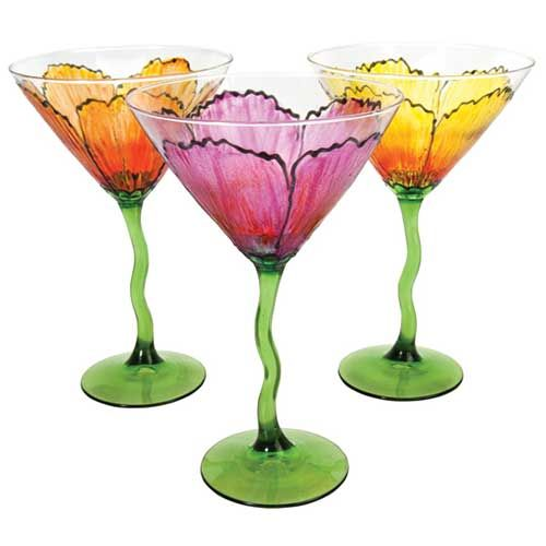 Site for painting on glass -- Petal Martini Glasses