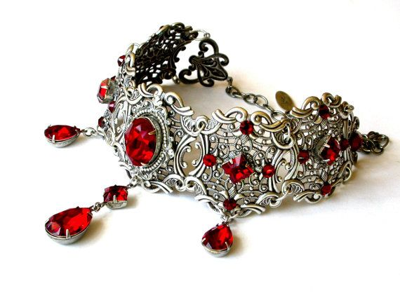 Red Swarovski Crystal Choker Bridal Silver Necklace Victorian Gothic Wedding Jewelry