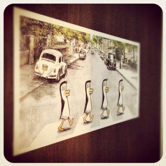 Penguin Road. Macanudo on my door.