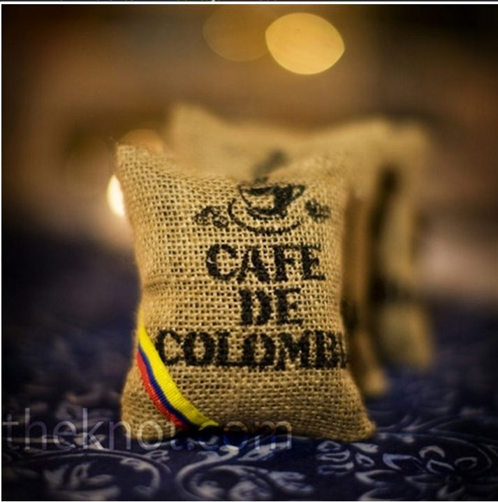 Colombian coffee sac wedding favor