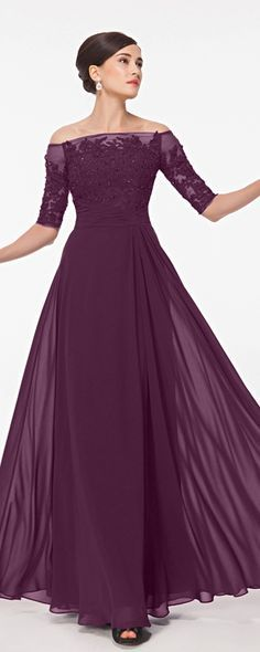 Plum mother of the bride dresses with sleeves modest mother of the bride dress…