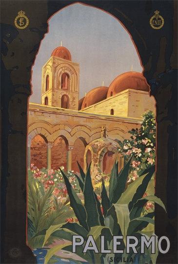 Travel Poster Palermo Reprint Poster 8x12 PopMount Ready to Hang. $35.00, via Etsy.