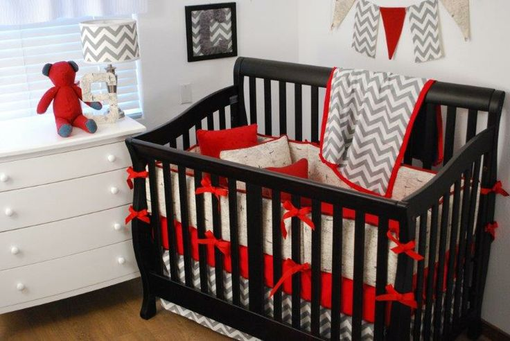 Grey Chevron, World map crib bedding, red crib sheet, pennant banner in the nursery