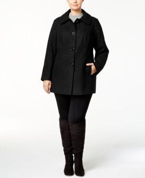 London Fog Plus Size Wool-Blend Peacoat - Black 1X