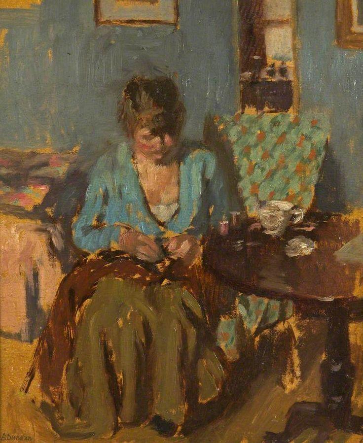 Girl Sewing by Bernard Dunstan