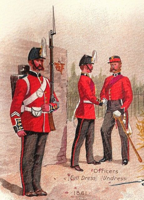 Private and two officers of the 21st Royal North British Fusiliers circa 1861: