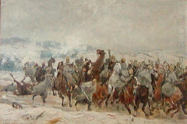 Otto Bache - De Liechtensteinske Husarers Angreb ved Sankelmark 06.02.1864.