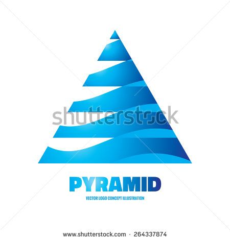 Pyramid - vector logo template concept illustration. Abstract triangle sign. Geometric structure symbol. Design element.