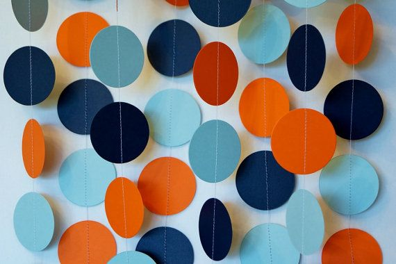 Orange, Blue & Navy Garland, Orange Blue Baby Shower Decor, Boy's Birthday Decorations, Orange / Blue / Navy Party, 10 ft. strand