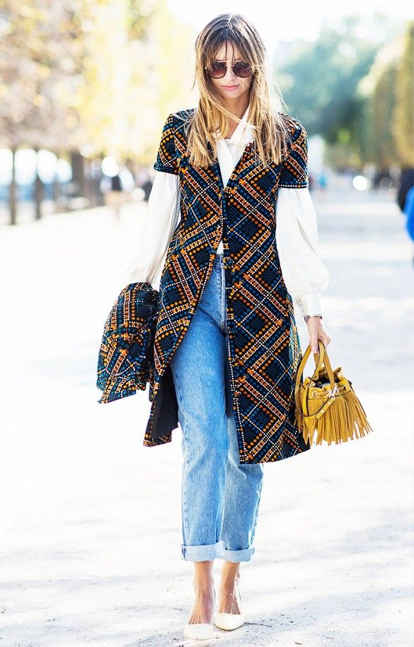Pair a patterned vest or jacket with a blouse, boyfriend jeans and neutral pumps.