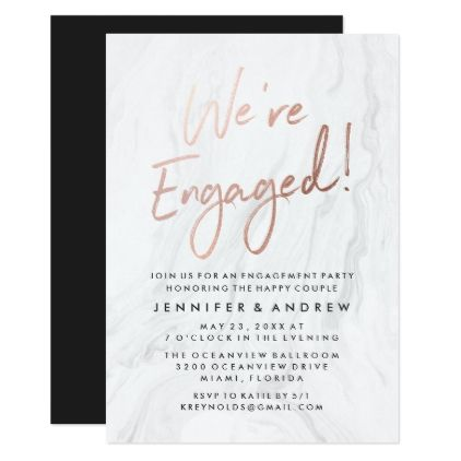 Modern White Marble Rose Gold | Engagement Party Card - engagement gifts ideas diy special unique personalize