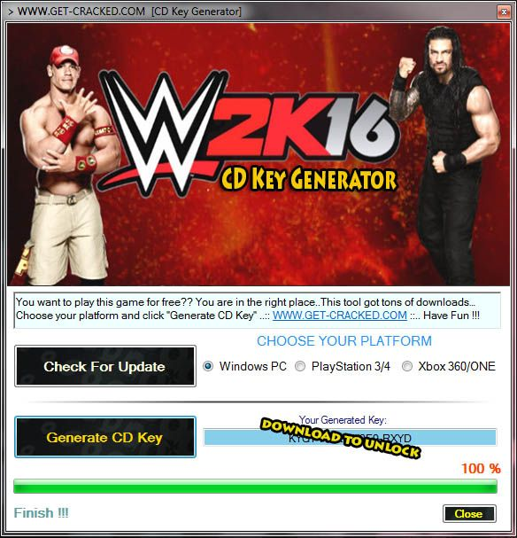 WWE 2K16 Free Activation Key Code