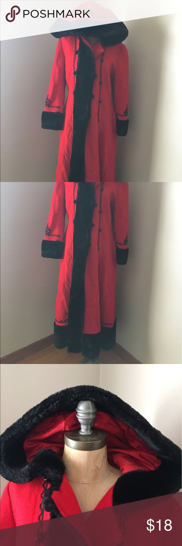 Vintage Red Hooded Coat Heavy winter coat , red and black, nice big hood. Has pockets. No marked tag. I'm 5'7 135 lbs and fits me just right. Arms a tad short and hit just above my wrists. Jackets & Coats Trench Coats