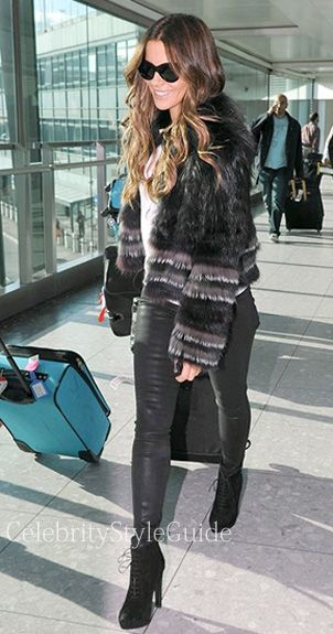 Kate Beckinsale wore the Yigal Azrouel Silver Fox Long Sleeve Fur Coat to Heathrow Airport in London November 4 2013