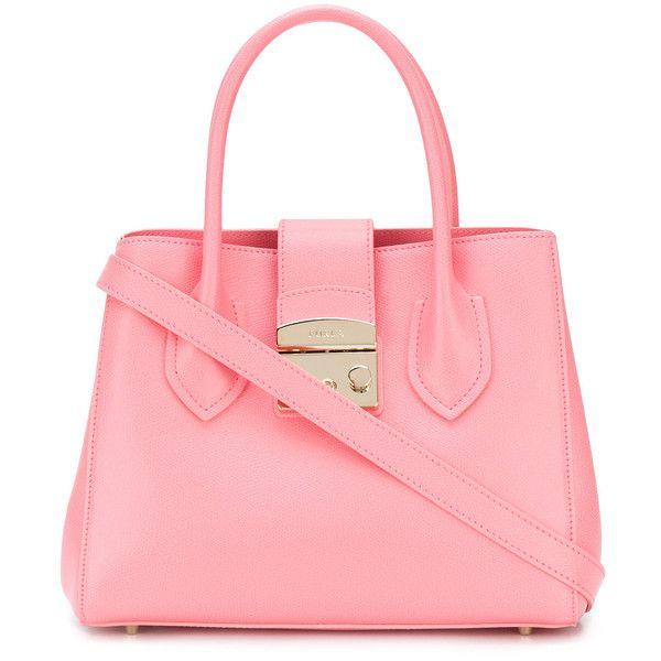 Furla Metropolis tote ($377) ❤ liked on Polyvore featuring bags, handbags, tote bags, tote bag purse, pink tote, furla tote, tote purses and furla purses