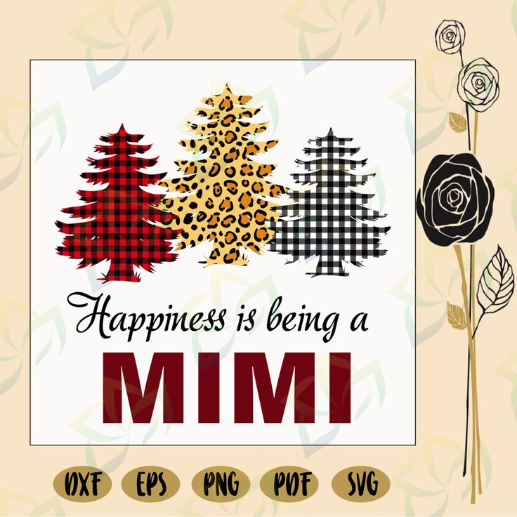 Download Happiness is being a mimi, leopard print, buffalo plaid ...