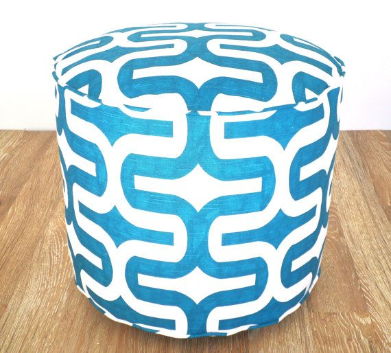 Turquoise floor poof round pouf ottoman 18 teal and by anitascasa