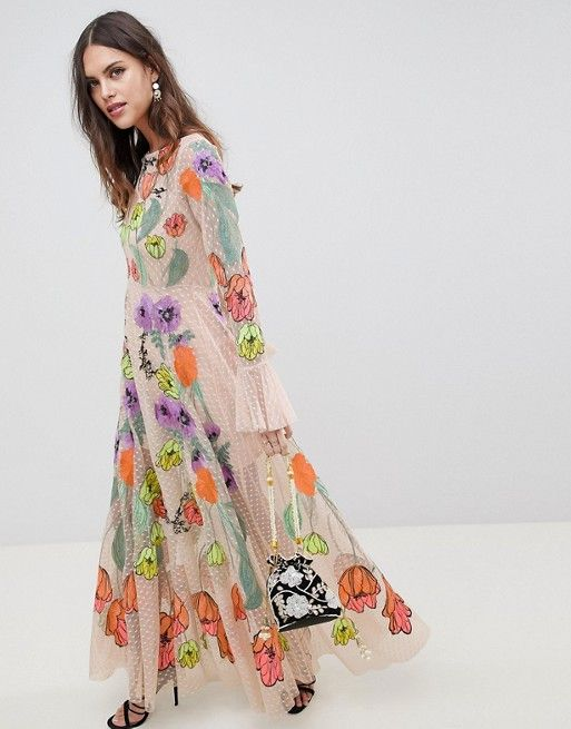 3281a6620c6 EDITION embroidered floral maxi dress