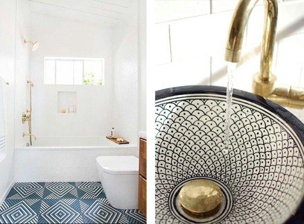 Holzmöbel badezimmer ~ Badezimmergestaltung mit auffälliger bodenfläche badezimmer