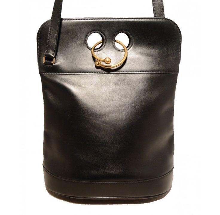 hermes bag replica - Hermes Vintage Black Leather Looping Closure Saddle Shoulder Bag ...