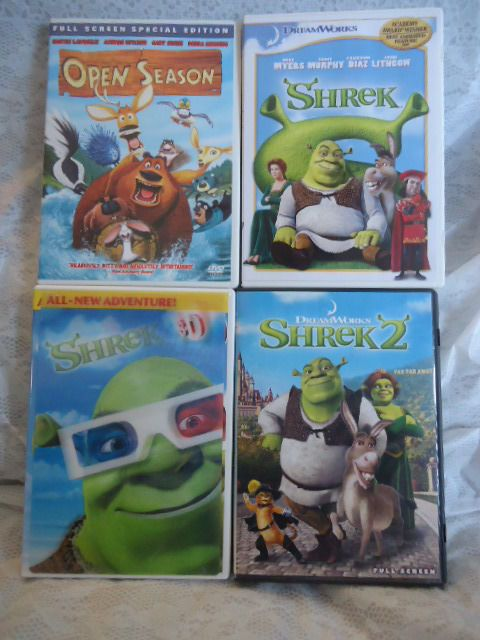 4 DVD Kids Movies Lot Shrek Shrek 2 Shrek 3D Open Season | eBay