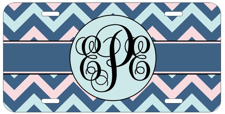 Personalized Monogrammed Chevron Blue Pink License Plate Custom Car Tag L434