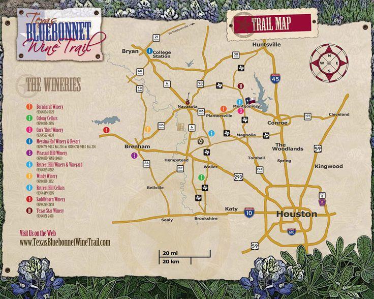 Bluebonnet Wine Trail map - Houston, TX - #texaswineries #texas #wineries