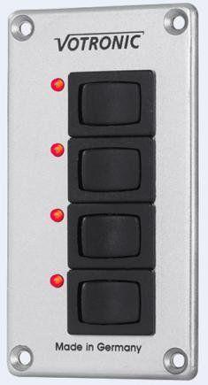 SWITCH-panel votronic 4 s: 4 Interrupteur de marche/arrêt, 8 a de charge avec voyant lED de connexion par bornes à vis type s switch 4…