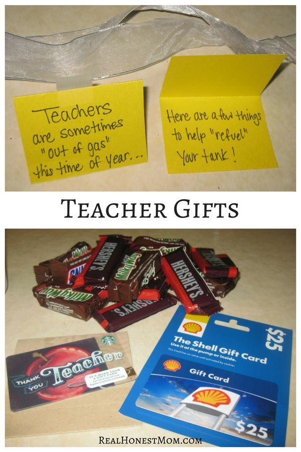 Help teachers refuel their tank at the end of the year with a gas station gift card, coffee gift card and chocolate!
