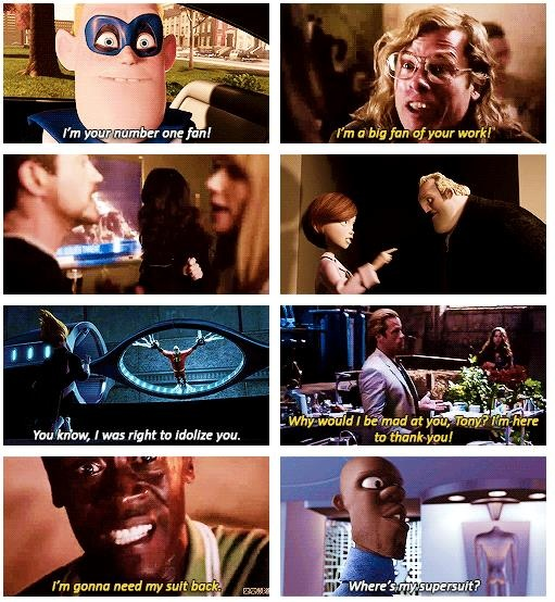 The Incredibles and Iron Man 3. Or just go on YouTube and watch How Iron Man 3 should have ended.
