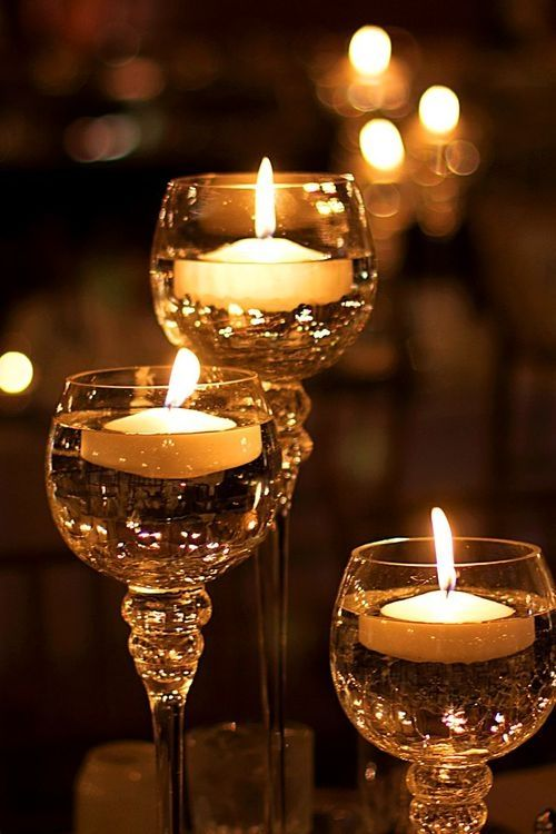 Floating Candles In Wine Glasses Dark Bokeh Night Home