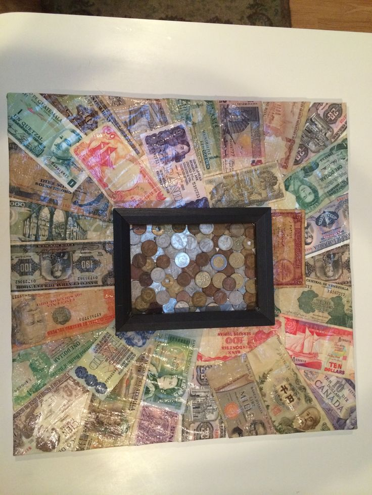 Coin art from foreign money.