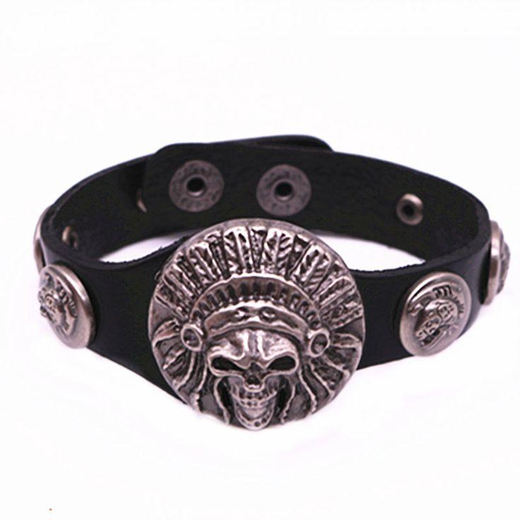 Мужские кожаные браслеты и браслеты 22 см череп модные аксессуары мужские выбор отдыха и спорта браслеты и браслеты ювелирные изделия