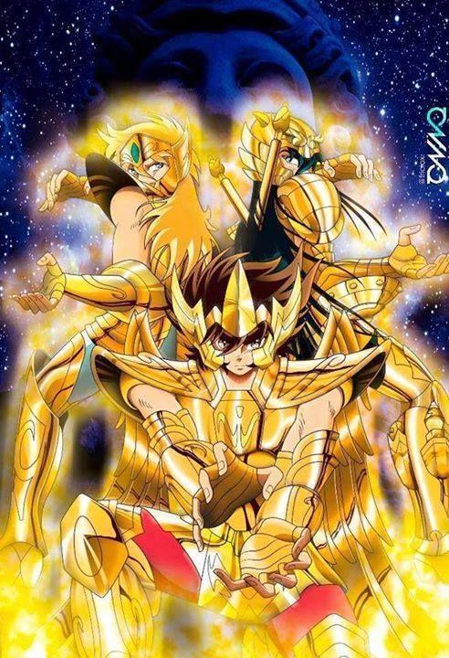 Athena Exclamation. Seiya, Hyoga y Shiryu