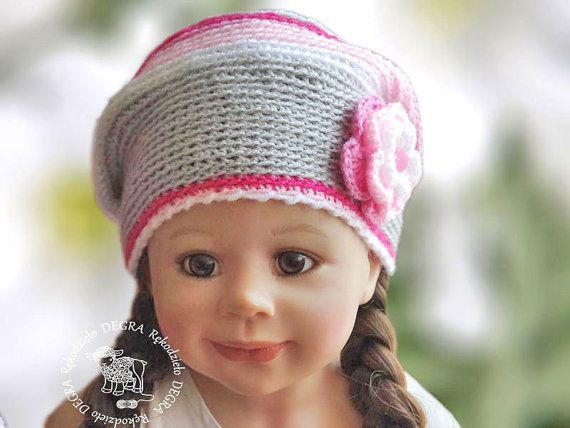 Crochet Children's hat toddler cap pink white grey color