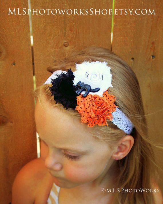 The Halloween Kitty Headband  Little Girl's Black White