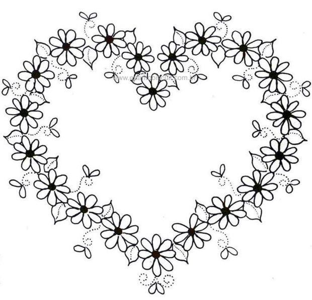 Black Flower Heart Shape Illustration Tattoo On White: Doodle Borders Wreath Embroidery