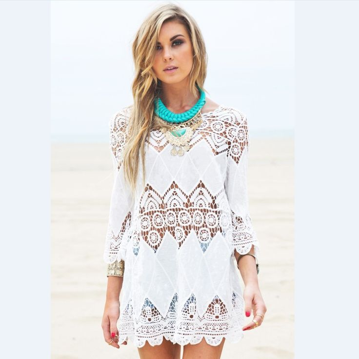 Women Summer Beach Wear Crochet Tunics Dresses Half Sleeve 2016 New Flower Embroidery Boho Lace Shirt Hollow Out Cover Ups