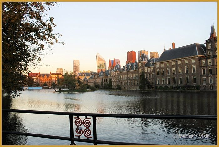 Autumn sunset at The Hague Houses of Parliament from Hofvijver. Always a magical sight.