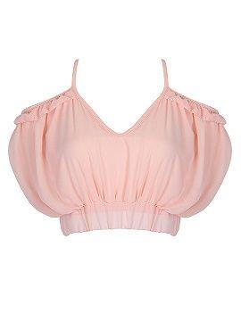 Shop Light Pink Sweetheart Ruffle Detail V Back Crop Top from choies.com .Free shipping Worldwide.$4.9