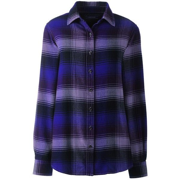 Lands' End Women's Petite Flannel Shirt (646.800 IDR) ❤ liked on Polyvore featuring tops, purple, plaid flannel shirt, blue flannel shirt, blue shirt, lands end shirts and petite shirts
