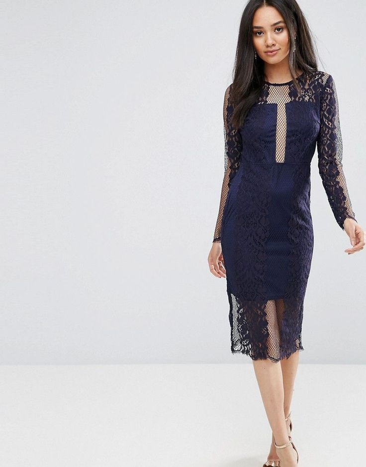 AX Paris Navy Long Sleeve Lace Midi Dress - Navy